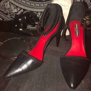 Charles Jourdan ankle strap pumps black